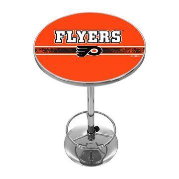 Trademark Gameroom Philadelphia Flyers Pub Tables Chrome Round Bar Table, Composite with Metal Metal Base