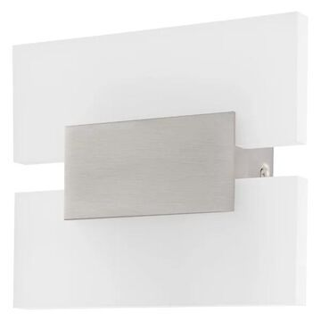 2-Light, 4.5W LED Wall Light, Matte Nickel/White Satin Glass