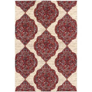 Hanover 4 Ft. x 6 Ft. Indoor/Outdoor Backless Rug with 5000 Hours of UV Protection -Moroccan-Inspired Red/Tan Ikat Design