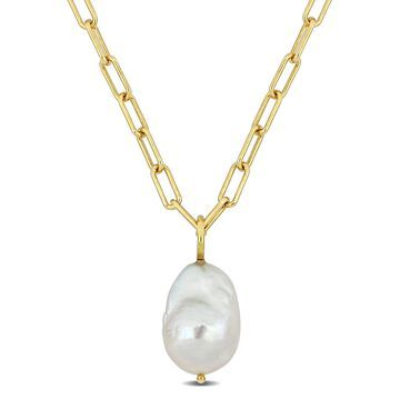 13-13.5mm Fancy-Shaped Cultured Freshwater Pearl 18kt Yellow Gold Plated Sterling Silver Paperclip Oval Link Chain Drop Necklace