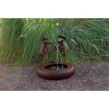 Alpine Rustic Crow Birds with Hats Fountain, 16 Inch Tall