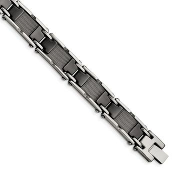 Chisel Stainless Steel and Ceramic Black Polished Mesh Bracelet