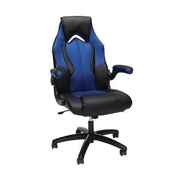 OFM Essentials Collection High-Back Racing Style Bonded Leather Gaming Chair, Blue (ESS-3086-BLU)