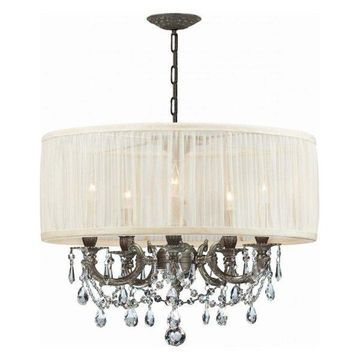 Crystorama Brentwood 1 Tier Chandelier, Pewter