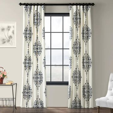 Exclusive Fabrics Kerala Blue Printed Cotton Twill Single Curtain Panel