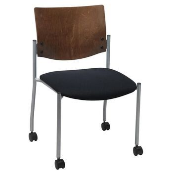 KFI Evolve Guest Chair Armless with a Chocolate Wood Back and Casters (navy anti-bacterial vinyl)