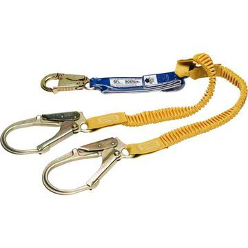 Werner DCELL Shock Pack with 6ft. DeCoil Twin-Leg Lanyard - Snap Hook and Rebar Hook, Model C441200