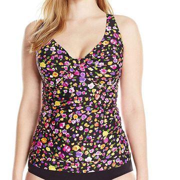 Anne Cole Womens Swimwear Black Size XL Floral V-Neck 2 Piece Tankini