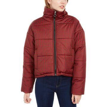 Juniors' Plaid Puffer Coat