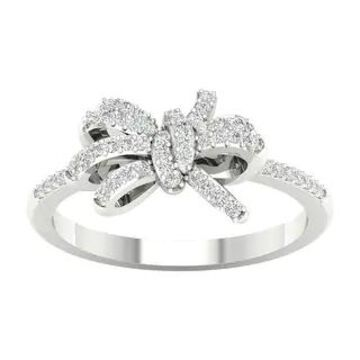 1/6ct TDW Diamond Knot Bow Fashion Ring in 10k Gold by De Couer (6 - White)