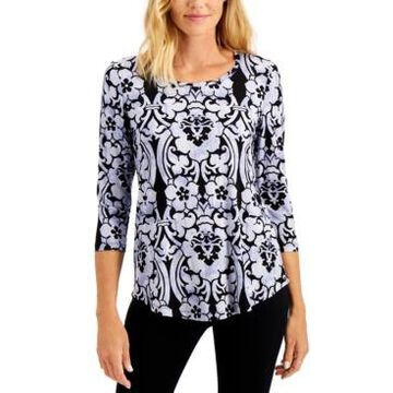 Jm Collection Scroll-Print Top, Created for Macy's