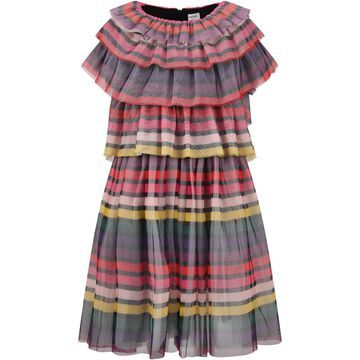 Sonia Rykiel Multicolor Dress For Girl With Stripes