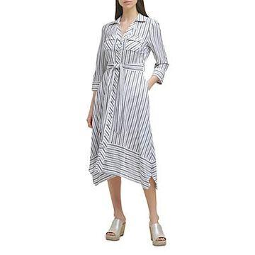 Karl Lagerfeld Paris Striped Asymmetric Shirt Dress