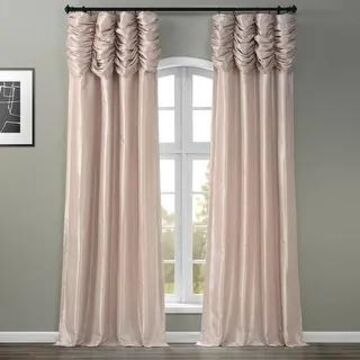 Exclusive Fabrics Ruched Faux Solid Taffeta Curtain (50 X 120 - Antique Beige)