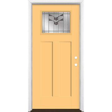 Masonite Frontier 36-in x 80-in Fiberglass Craftsman Left-Hand Inswing Cabana Yellow Painted Prehung Single Front Door with Brickmould