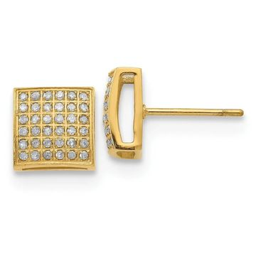 Chisel Stainless Steel Polished Yellow IP-plated with 3/8 Cttw Diamond Square Post Earrings (White)