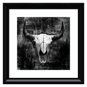 Amanti Art Black Cowskull by Graphinc Wall Art