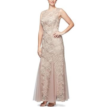 Alex Evenings Womens Petites Evening Dress Metallic Lace