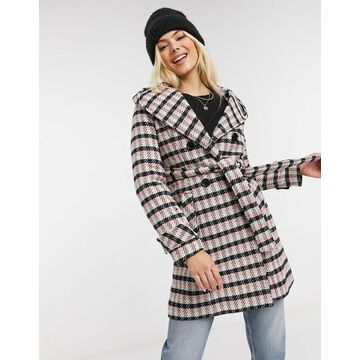 Liquorish hooded coat with tie front in plaid-Multi