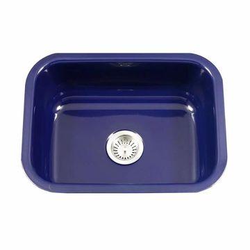 "Houzer PCS-2500 Porcela 22-3/4"" Single Basin Undermount Porcelain Enameled Kitchen Sink with Sound Dampening Technology Navy Blue Fixture Kitchen Sink"