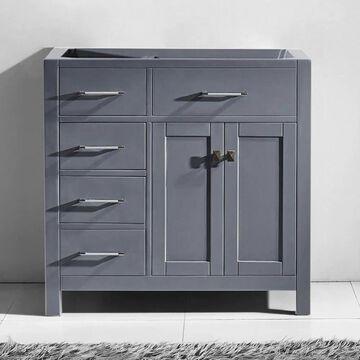 Virtu USA Caroline Parkway 36-in Gray Bathroom Vanity Cabinet | MS-2136L-CAB-GR