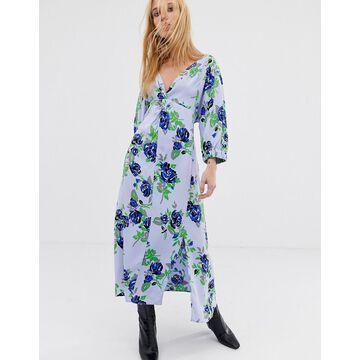 ASOS WHITE midi dress in blue floral print