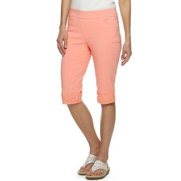 Petite Napa Valley Embellished-Hem Pull On Skimmer Pants