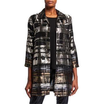 Plus Size Border Plaid Jacquard Topper Jacket