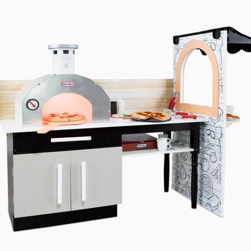 Little Tikes Real Wood Pizza Restaurant Roleplay Pizza Kitchen Cook and Serve With Realistic Lights & Sounds and Dual-Sided Play for Girls Boys Multicolor, Ages 3+