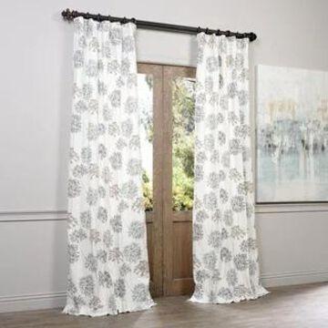 Exclusive Fabrics Allium Blue and Grey Printed Cotton Curtain Panel (50 x 120 - Blue/Grey)