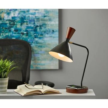 Adesso Black Arlo Wireless Charging Desk Lamp with AdessoCharge