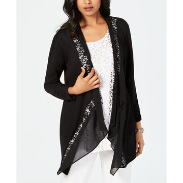 Lace-Trim Draped Cardigan, Created for Macy's