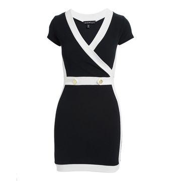 Derek Heart Women's Casual Dresses BLACK - Black & White Cap-Sleeve Surplice Dress - Juniors