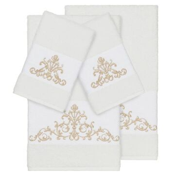 Authentic Hotel and Spa White Turkish Cotton Scrollwork Embroidered 4 piece Towel Set