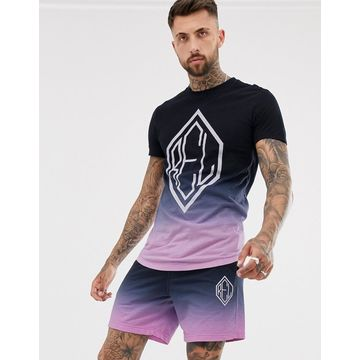 Religion two-piece curved hem t-shirt with logo in fade pink