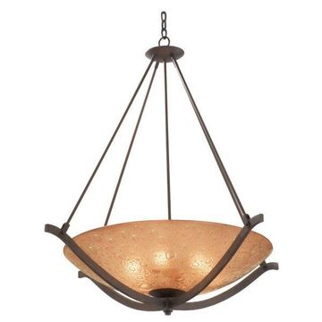 Kalco Luna Tawny Port Chandelier/Pendant With Bronze Bubble Glass