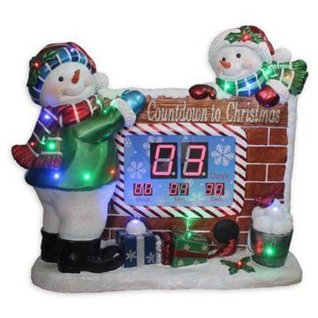 National Tree Company Christmas Countdown Snowman Table Clock