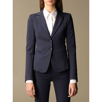 Patrizia Pepe single-breasted jacket in two-way stretch cotton blend