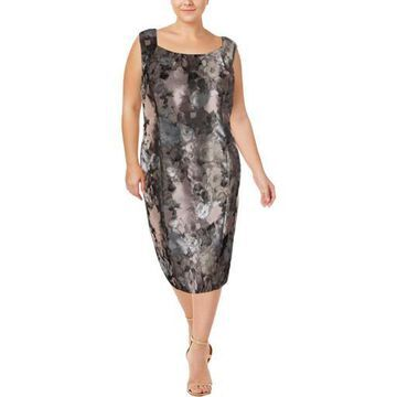 Kasper Womens Plus Printed Sheath Cocktail Dress