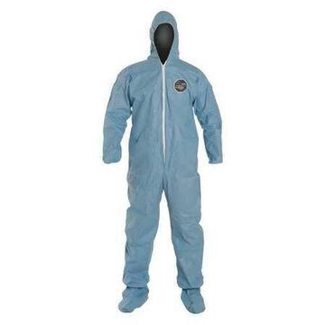 DUPONT TM122SBU4X002500 Flame Resistant Coverall w/Hood and Boots, Sky Blue,