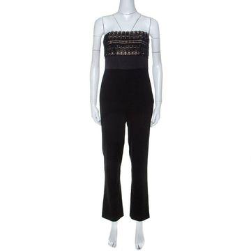 Monique Lhuillier Black Beaded Lace Bodice Strapless Jumpsuit S