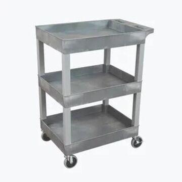 Luxor 24x18 Plastic Utility Tub Cart Cart- Three Shelf Gray - N/A (Grey)