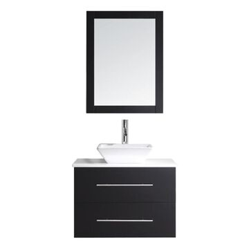 Virtu USA Marsala 29-in Espresso Single Sink Bathroom Vanity with White Engineered Stone Top (Mirror and Faucet Included) in Brown