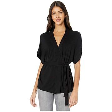 Majestic Filatures French Terry Belted Cardigan (Noir) Women's Clothing