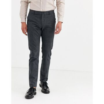 Selected Homme brushed wool small check pants in black