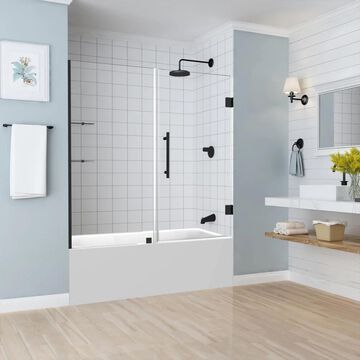 Aston Belmore GS 59.25-in to 60.25-in x 60-in Frameless Hinged Tub Door with Glass Shelves in Matte Black   TDR960EZMB6010