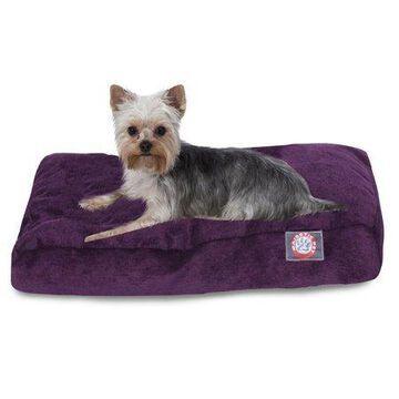 Majestic Pet Villa Rectangle Dog Bed Velvet Removable Cover Aubergine Large 44