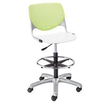 KFI KOOL Home and Office Adjustable Drafting Stool, White Seat