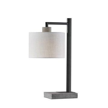 Adesso Devin Table Lamp, Black with Grey Cement Accents