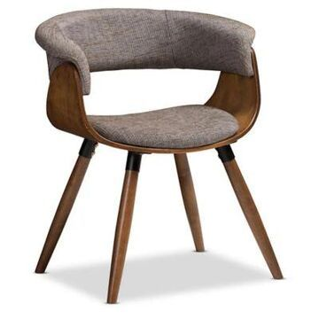 Baxton Studio Rubberwood Upholstered Bryce Dining Chair in Walnut/gray